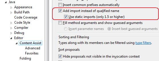 Generate static imports in Eclipse on autocomplete for JUnit