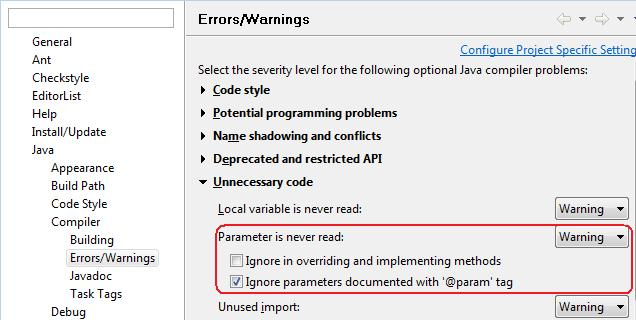 Get warnings about unused method arguments from Eclipse to