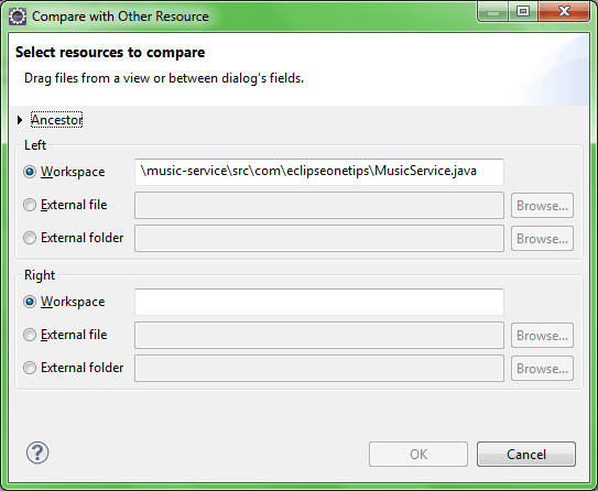 Compare two workspace or external files in Eclipse | Eclipse
