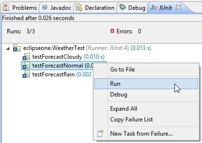 Run single test from JUnit view